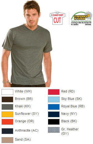 Mens V-neck T-shirt H5164